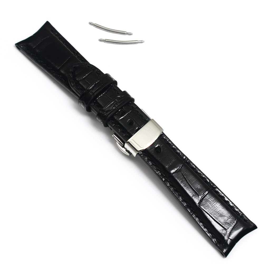 Curved Ends Alligator Watch Strap, Black, Square Scales, Padded, Handsewn