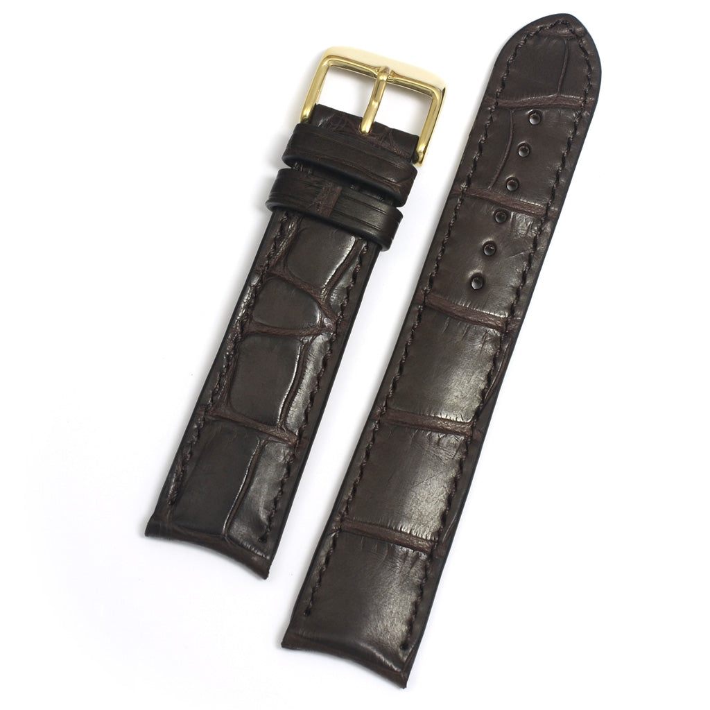 Curved Ends Alligator Band, Brown Square Scales, Padded, Stitched by hand, MADE-TO-ORDER