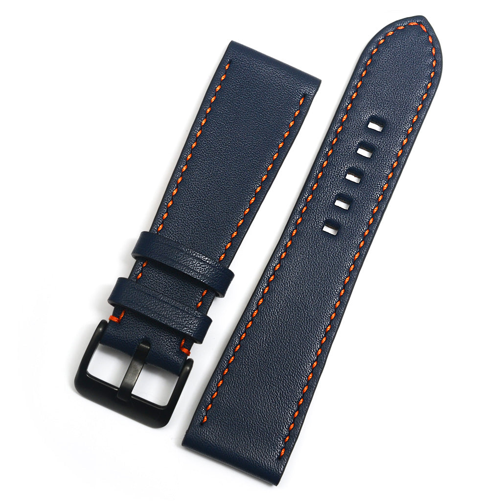 Full Grain Leather Watch Strap, Navy, Orange Hand-sewing, Medium Length