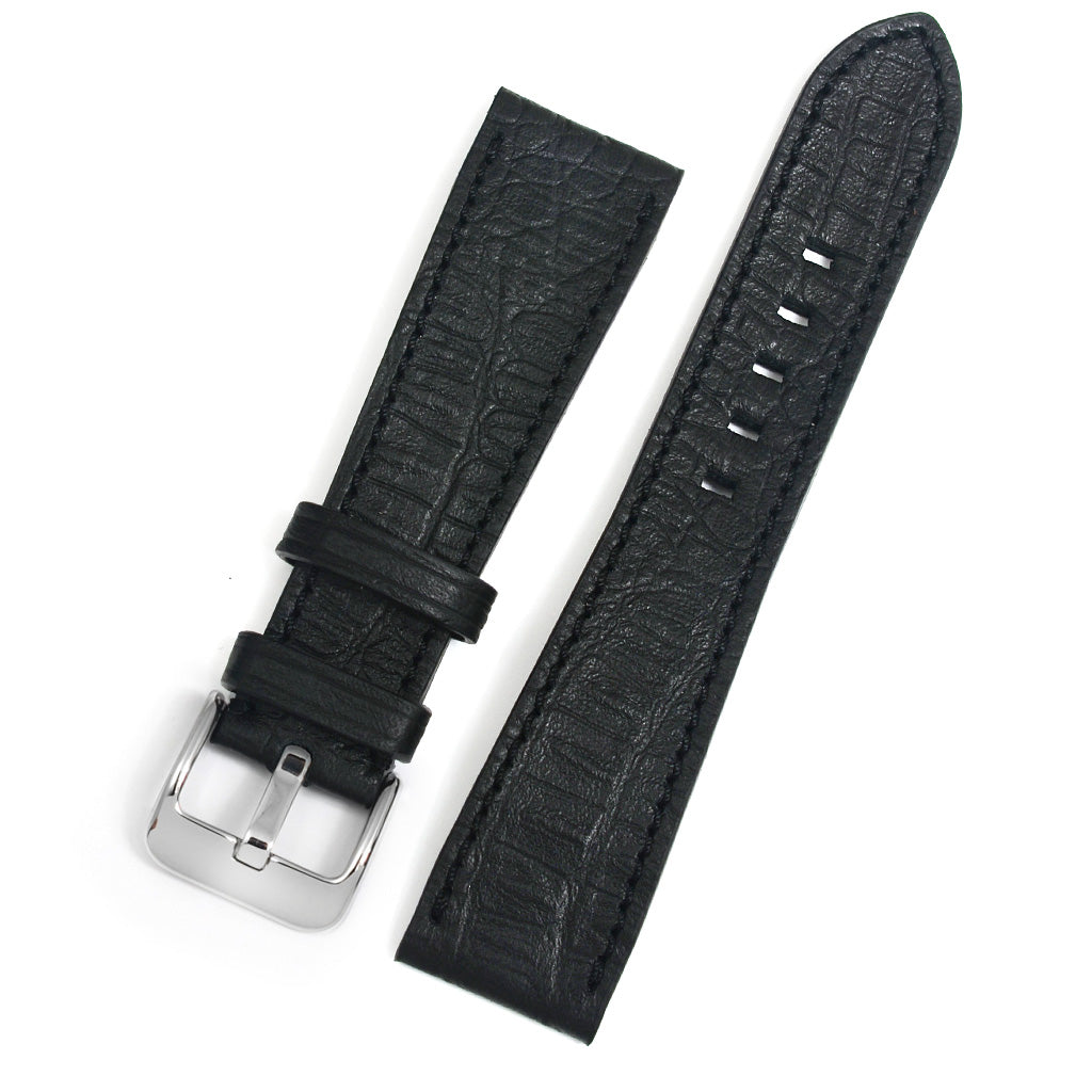 Leather Watch Strap, Black, Reptile Print, Medium Length