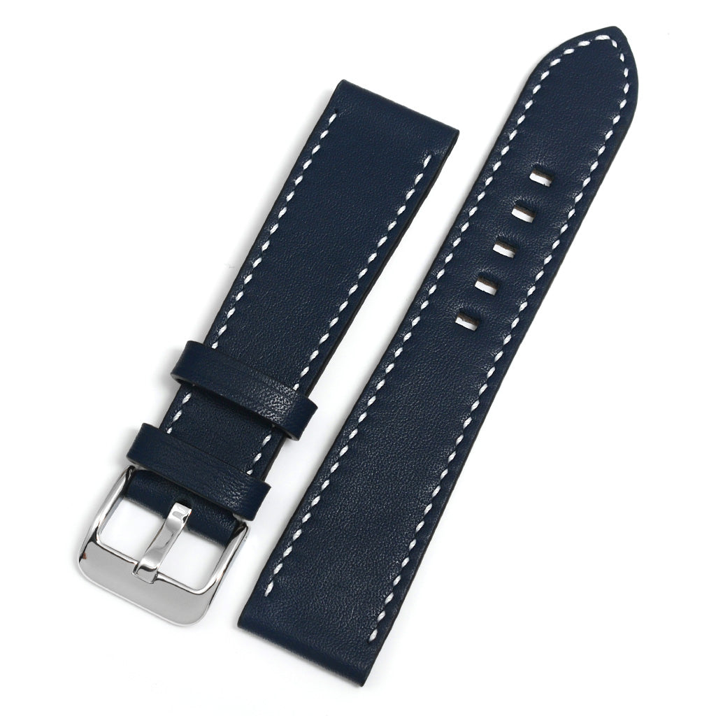 Full Grain Leather Watch Strap, Navy, White Hand-sewing, Medium Length