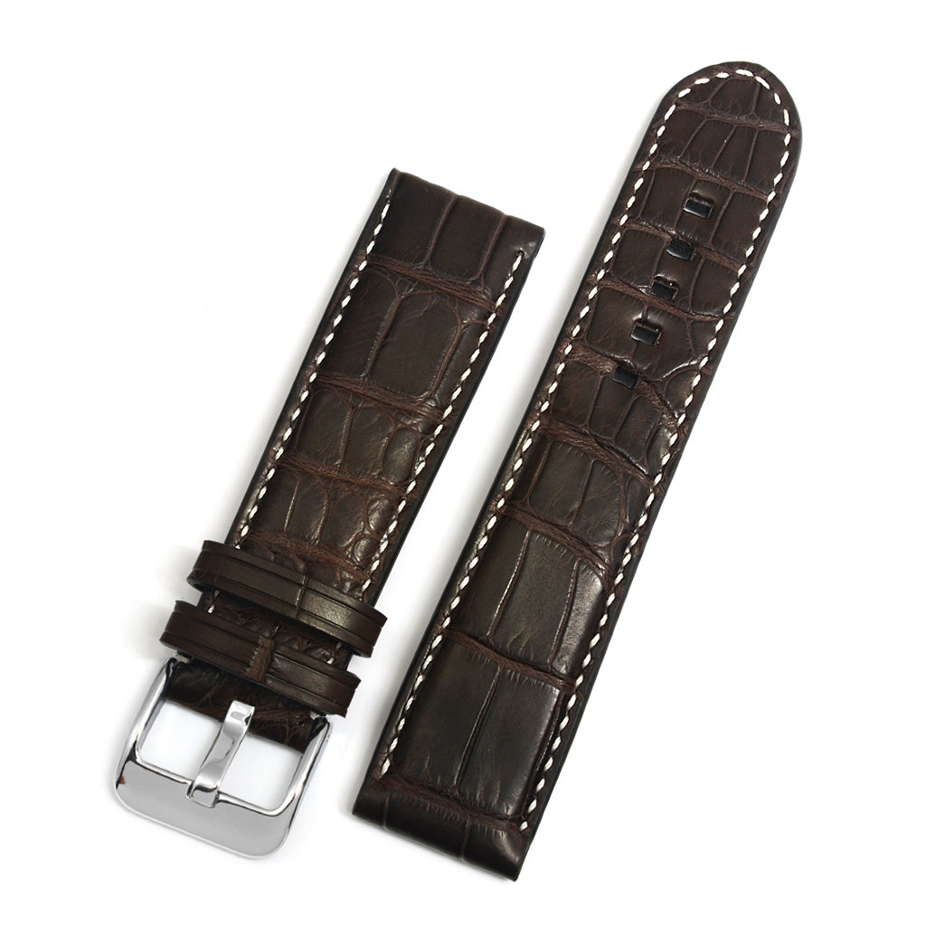 Padded Alligator Watch Strap, Brown, Square Scales, Contrast Hand-sewing
