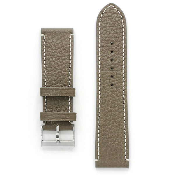 Pebbled Leather Band, Taupe Grey, Medium Length
