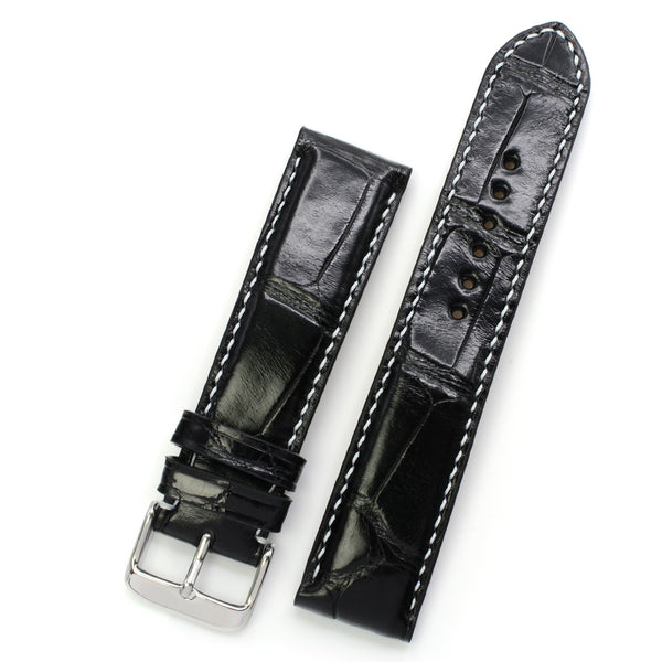 Padded Alligator Watch Strap, Black Square Scales, Round Holes, White Handsewing