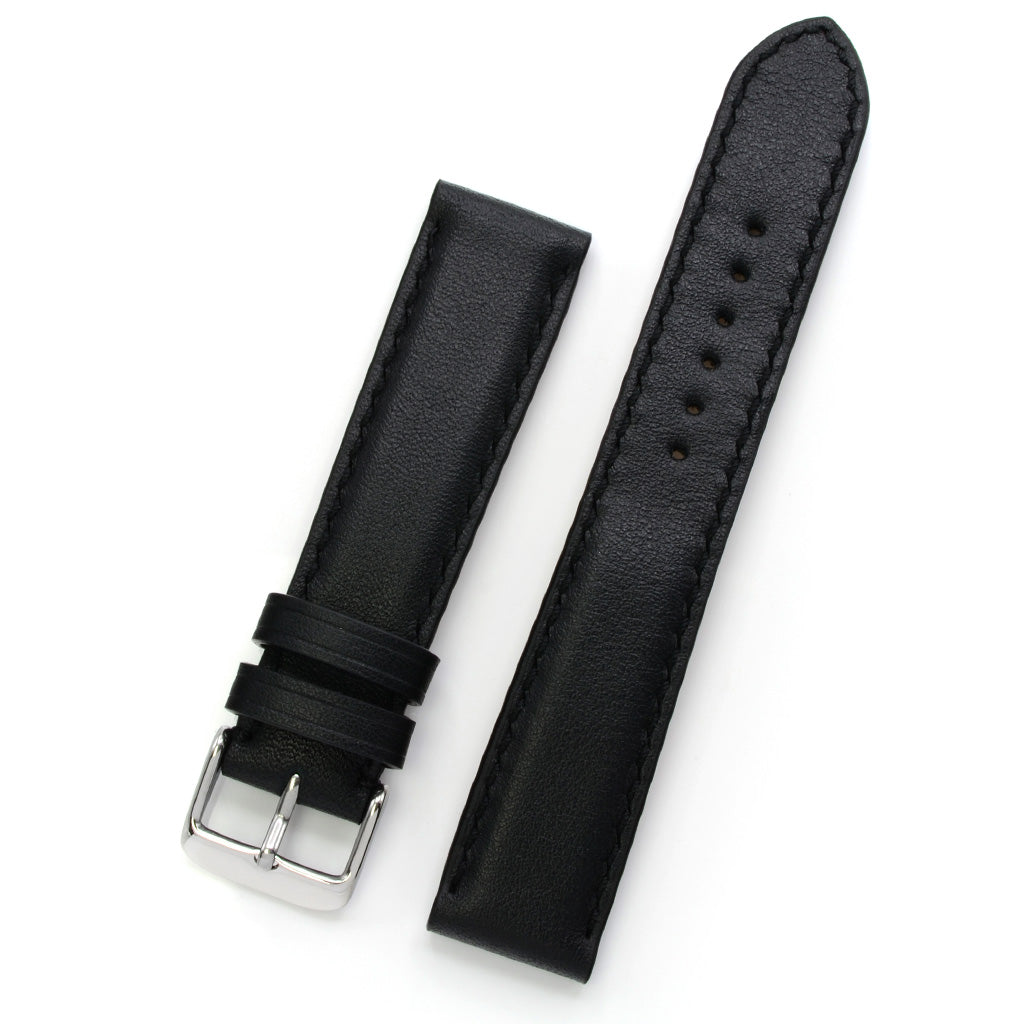 Padded Watch Strap in Black Full Grain Leather, Handsewn