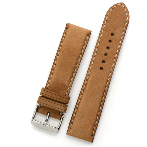 Padded Watch Strap in Latte Nubuk Leather, Handsewn