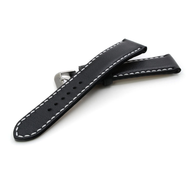 Padded Watch Strap in Black Full Grain Leather, White Handsewing