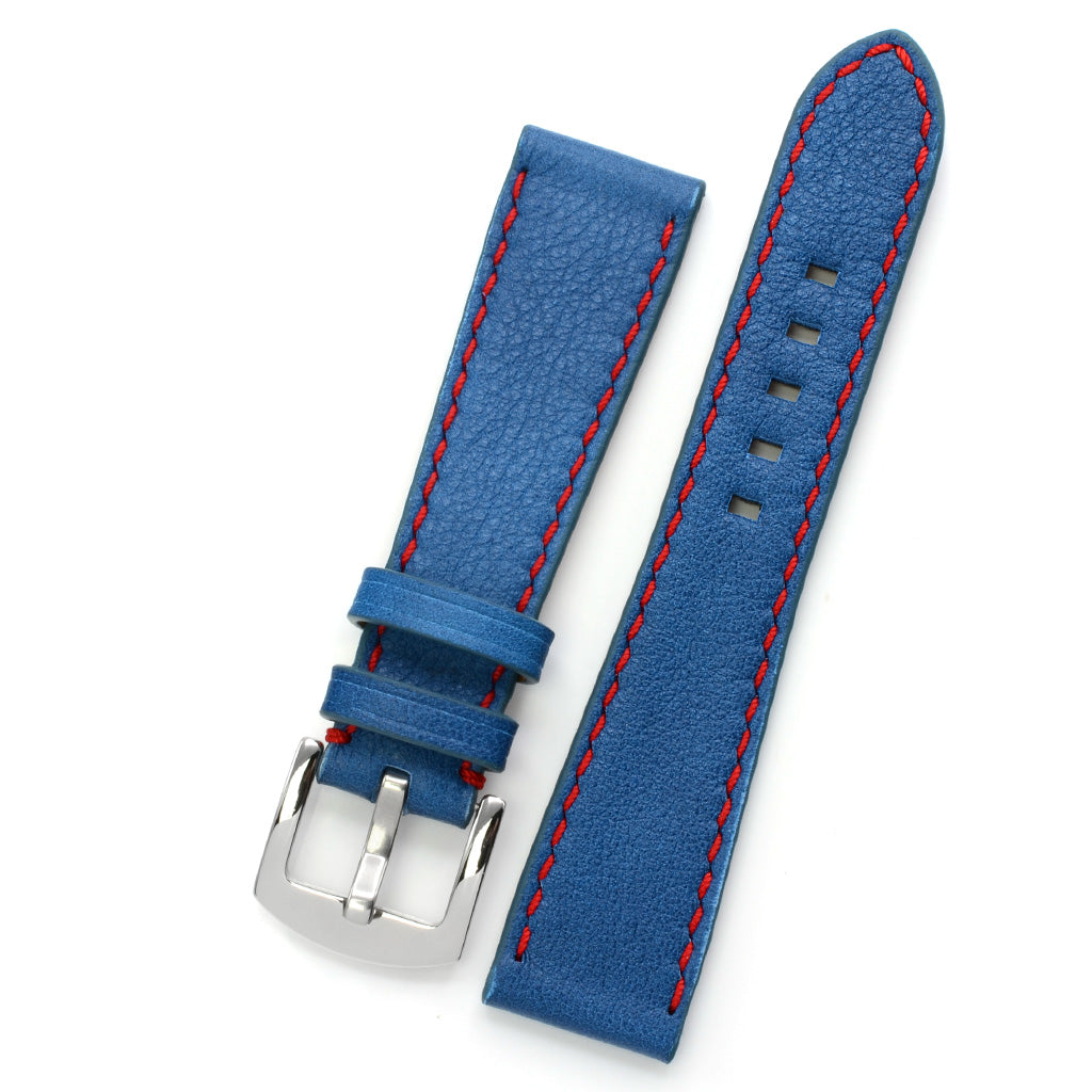 Blue Marble Leather Watch Strap, Red Hand-sewing, Medium Length
