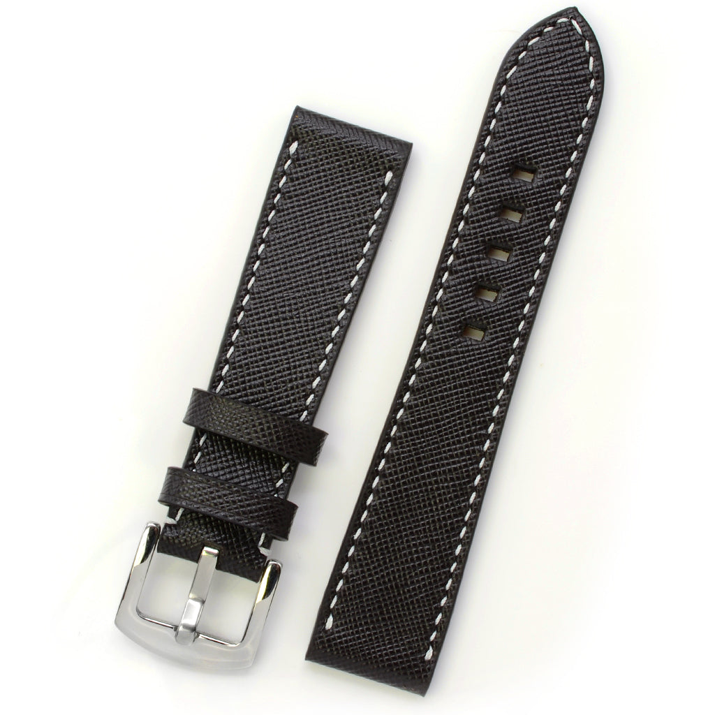 Brown Saffiano Leather Watch Strap, White Hand-sewing, Medium Length