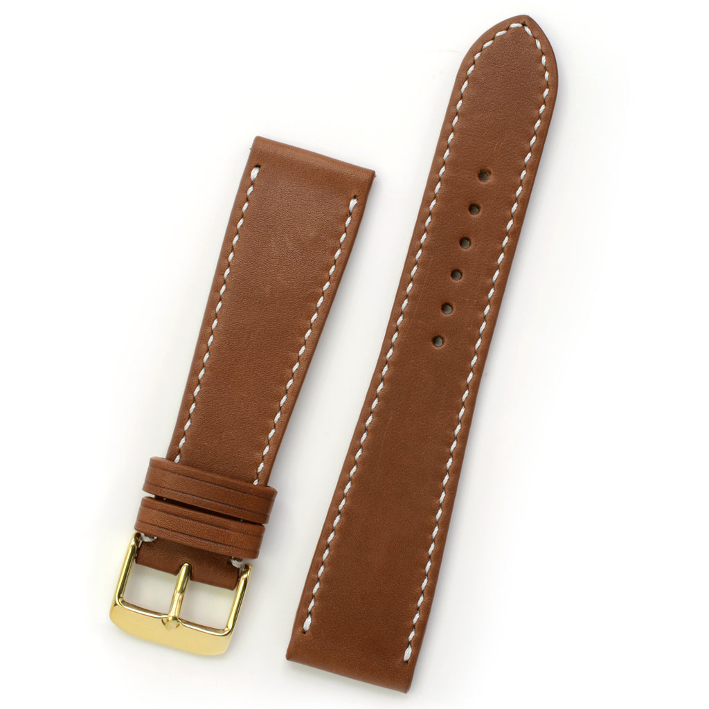 Tabac Marble Leather Watch Strap, White Hand-sewing, Medium Length