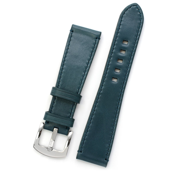 Petrol Blue Marble Leather Watch Strap, Red Hand-sewing, Medium Length