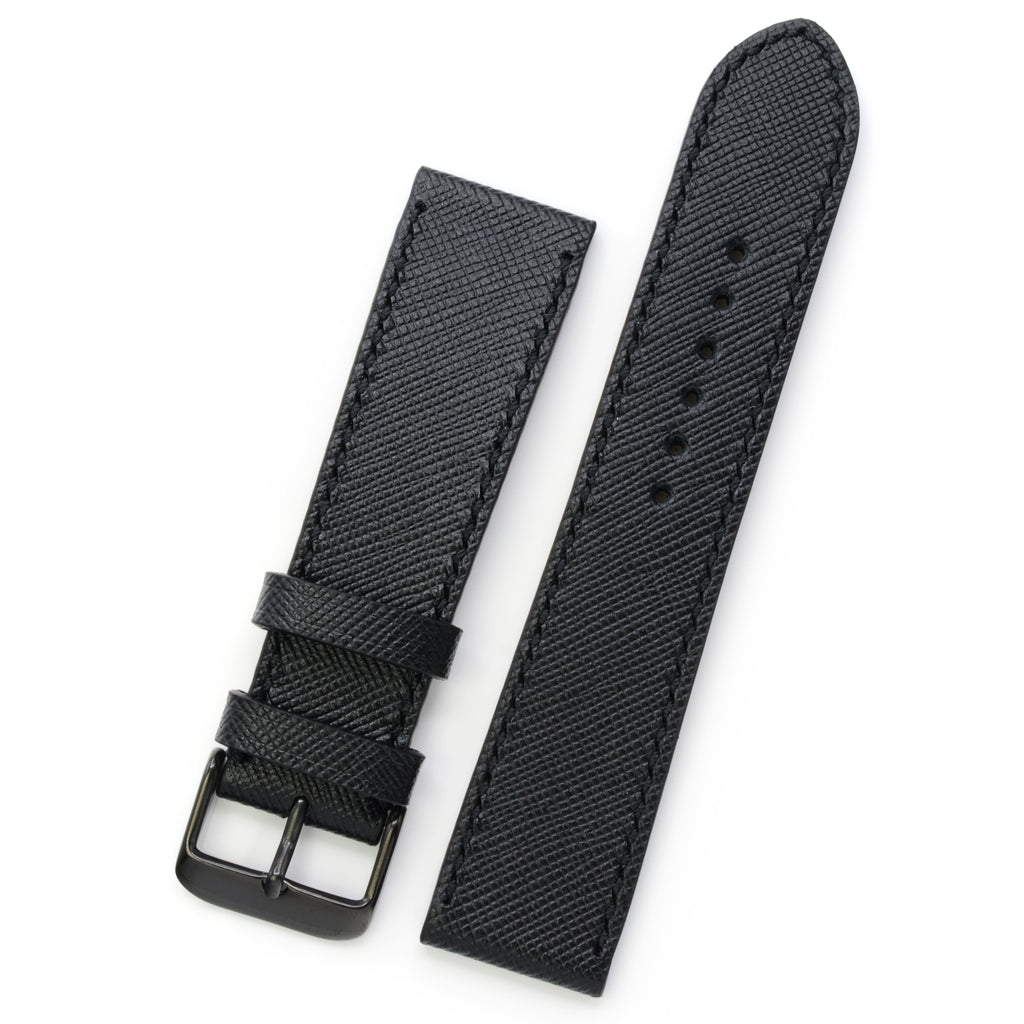 Black Saffiano Leather Watch Strap, Hand Sewn, Medium Length