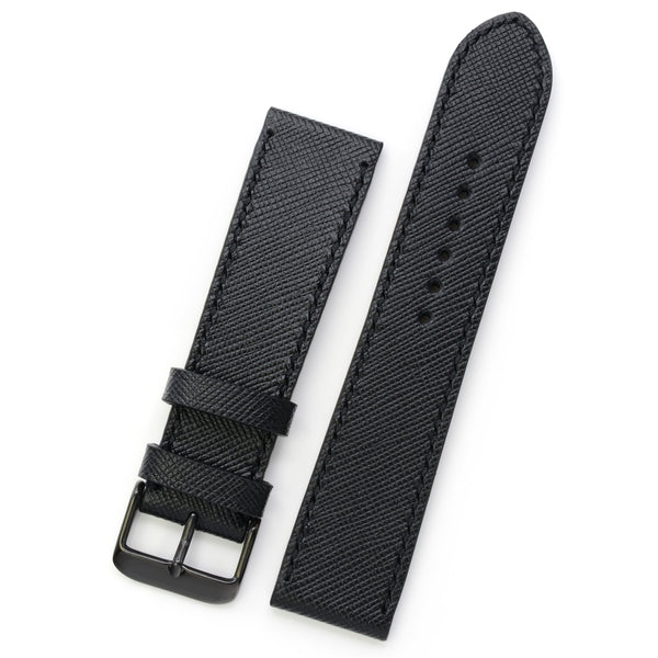 Black Saffiano Leather Strap, Handmade & Hand Sewn, Medium Length