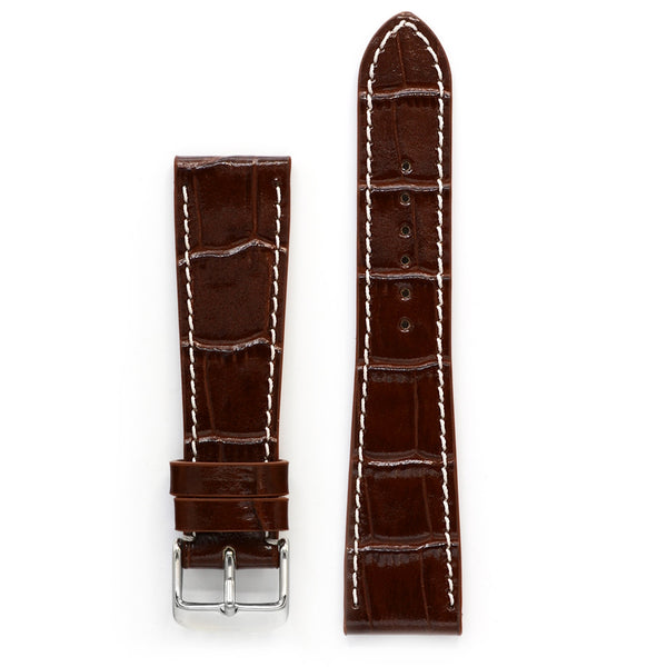 Leather Watch Strap, Cognac Crocodile Print, Medium Length