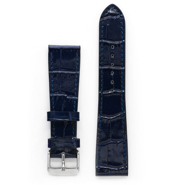 Leather Watch Strap, Navy Crocodile Print, Medium Length