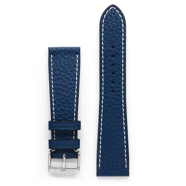 Pebbled Leather Watch Strap, Deep Blue, Medium Length