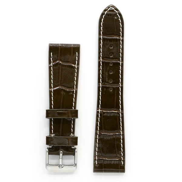 Leather Watch Strap, Greenish Brown Crocodile Print, Medium Length