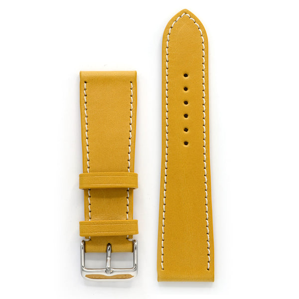 Leather Watch Band, Yellow with Contrast Sewing, Medium Length