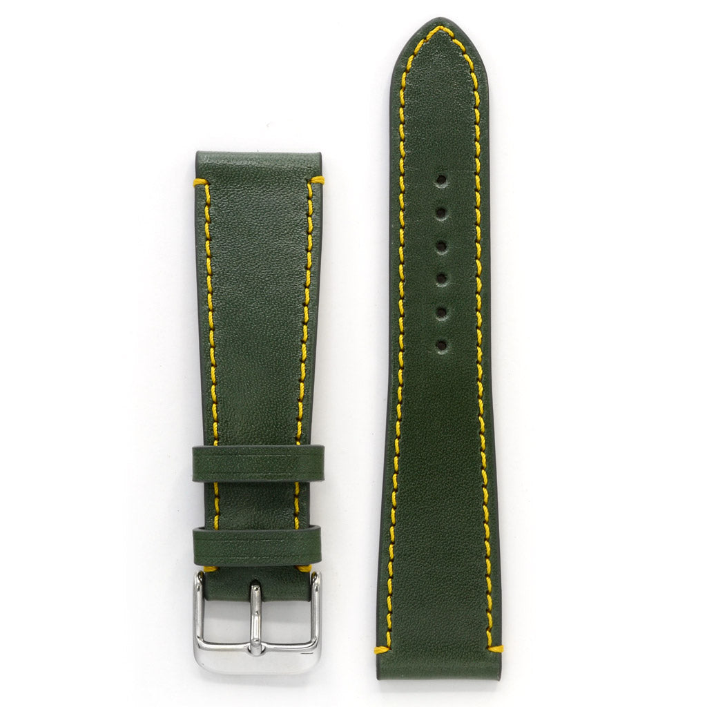 Full Grain Leather Watch Strap, Green with Yellow Stitch, Medium Length