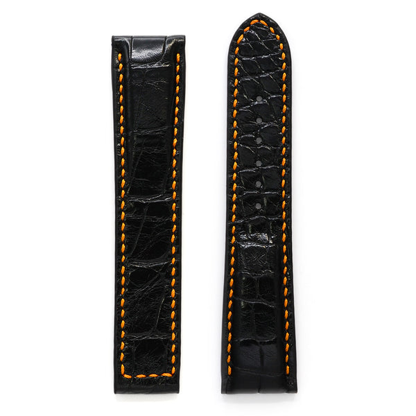 Watch Strap for Omega, Black Alligator, Padded, Orange Handstitch, MADE-TO-ORDER