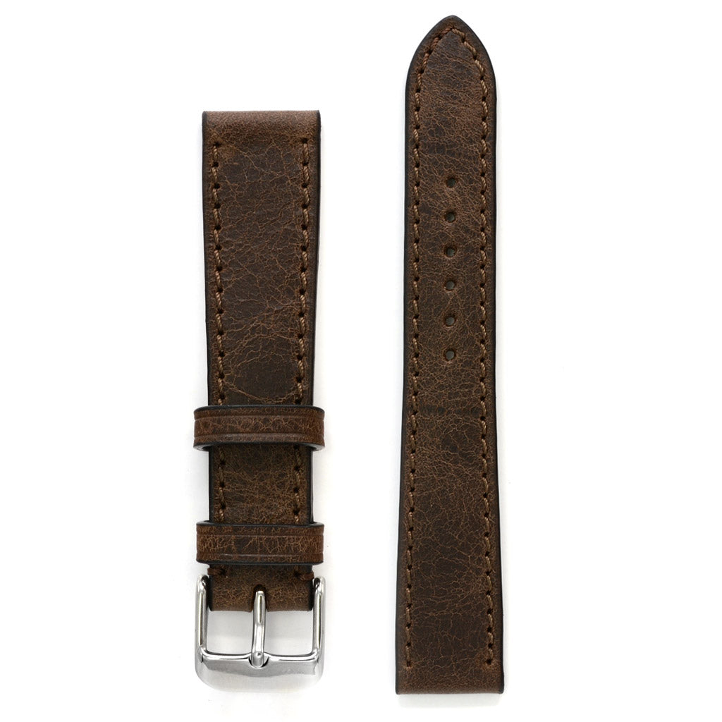 Antique Brown Leather Watch Strap, Medium Length