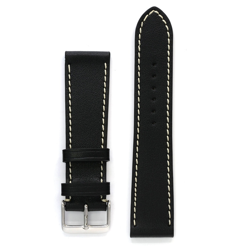 Black Full Grain Leather Watch Strap, Off-white Stitch, Medium Length