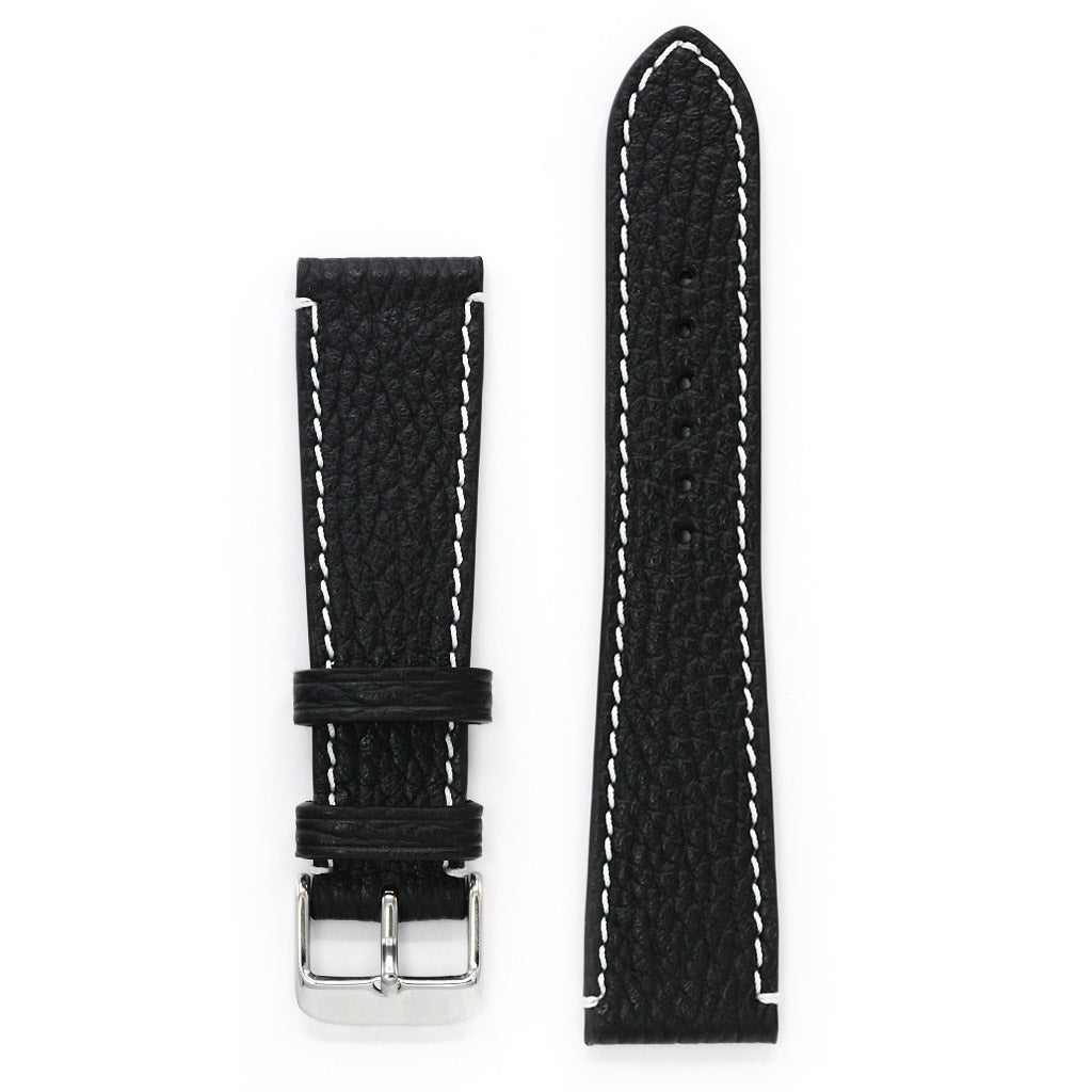 Black Pebbled Leather Watch Strap, Contrast Stitch, Medium Length