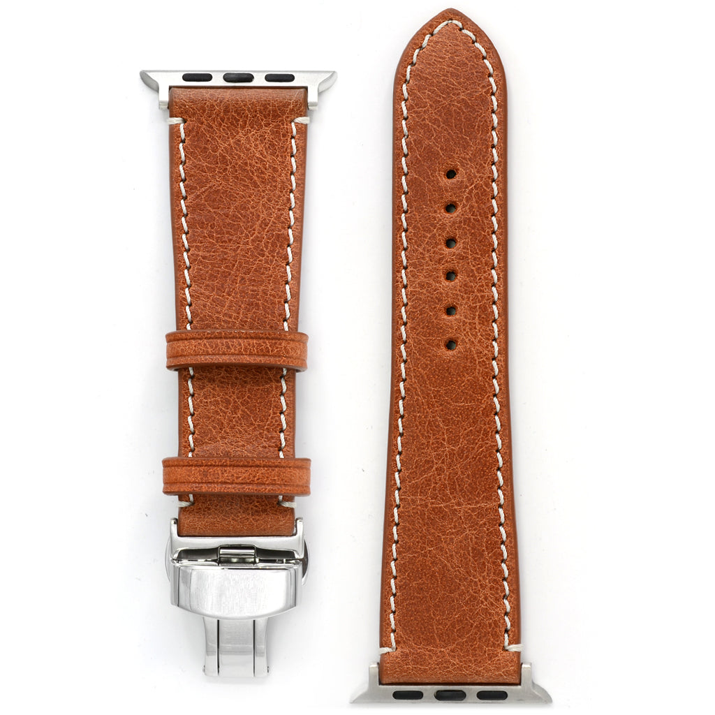 Apple Watch Band in Cognac Antique Leather, Deployment Buckle, Medium Length