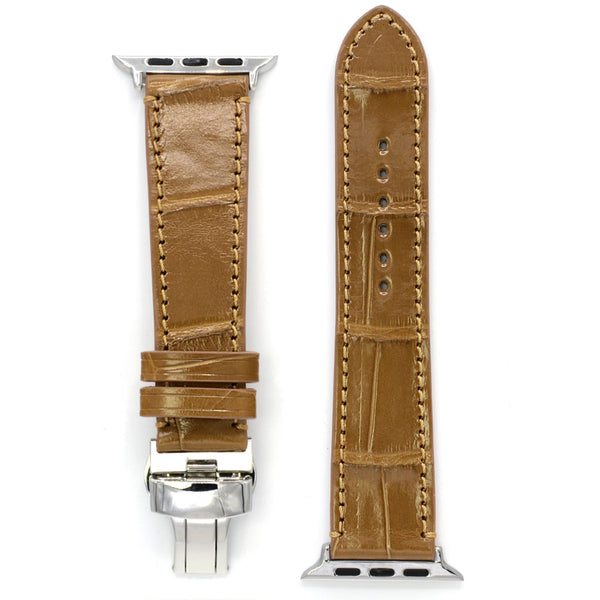 Alligator Leather Watch Strap for Apple Watch, Canyon Color, Square Scales, Deployment Buckle, Medium Length