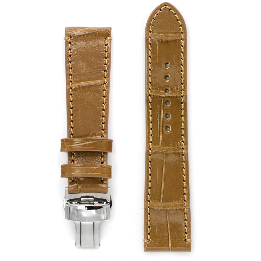 Alligator Watch Strap Canyon Brown Square Scales, Deployment Buckle, Medium Length