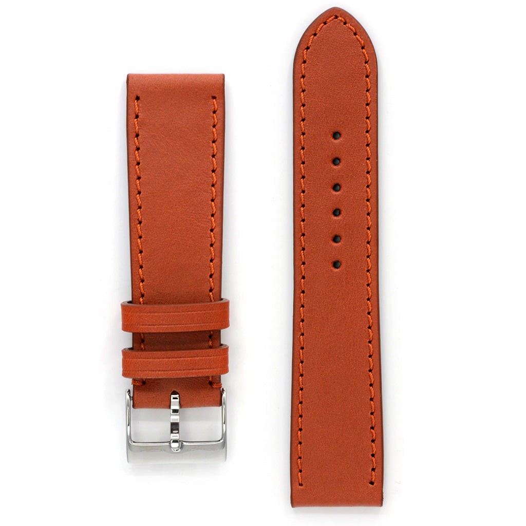 Watch Strap in Rust Marble Leather, Medium Length