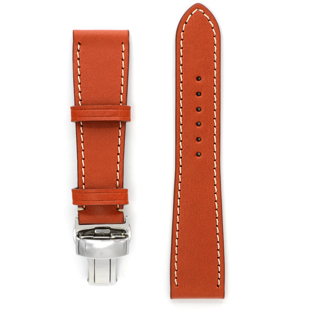 Watch Band with Contrast Stitch & Deployment Buckle, Rust Marble Leather, Medium Length