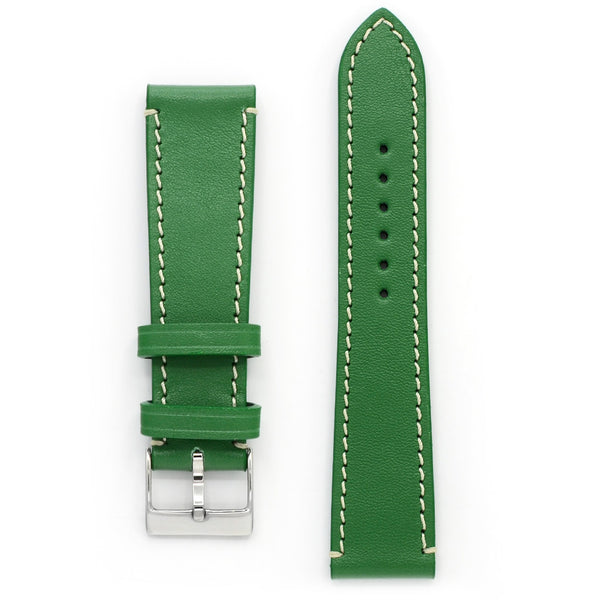 Full Grain Leather Watch Strap, Bright Green, Contrast Stitch, Medium Length