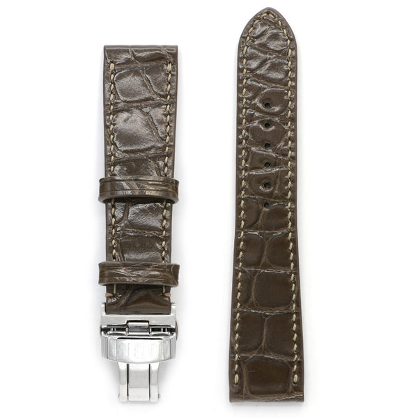 Alligator Leather Watch Strap in Siena Sand, Square Scales, Handsewn, Deployment Buckle, Medium Length