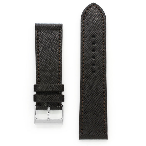 Brown Saffiano Leather Watch Strap, Medium Length