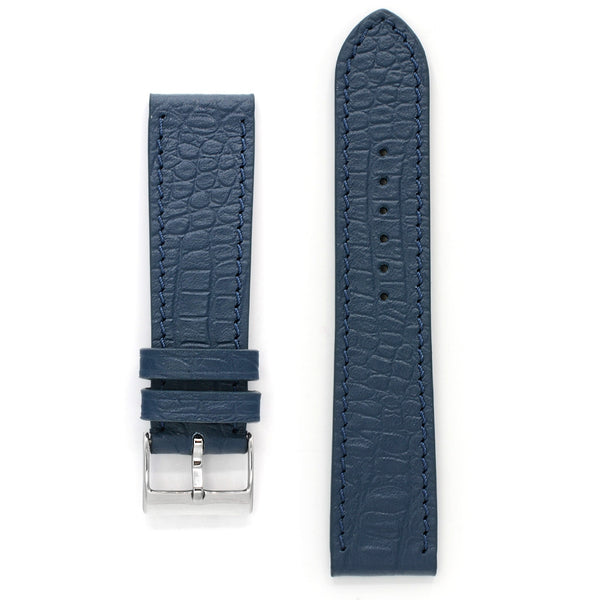 Leather Watch Strap, Reptile Print, Blue Fog, Medium Length