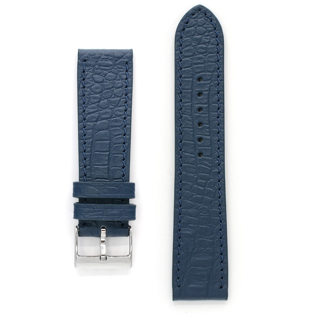 Leather Band, Reptile Grain, Foggy Blue, Long Length