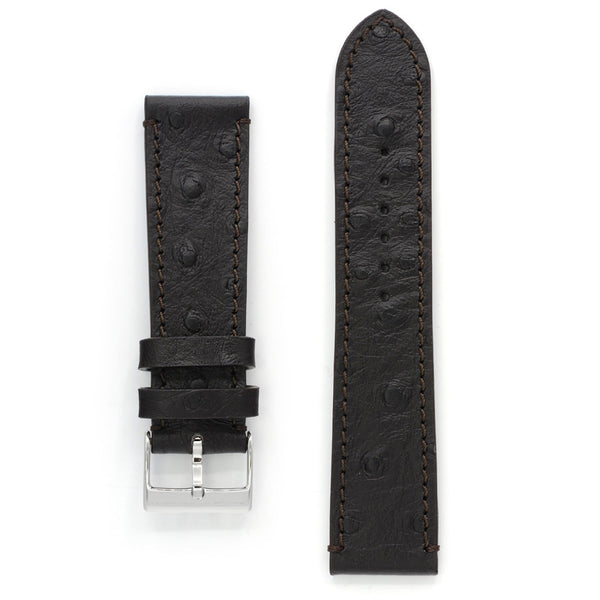 Leather Watch Strap, Ostrich Print, Deep Brown, Medium Length