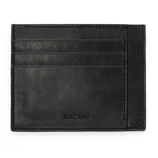 Black Leather Wallet, Extra Slim, Antique Finish