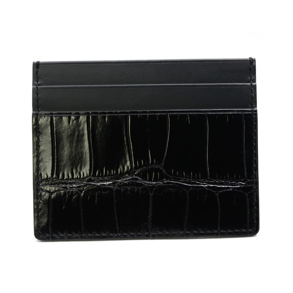 Alligator and Calf Leather Card Holder, in Black, Hand Stitched