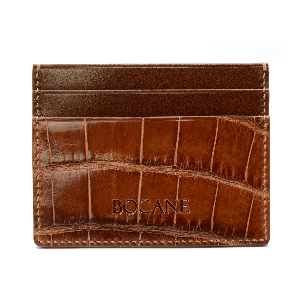 Alligator and Calf Leather Card Holder, Cognac, Hand Stitched