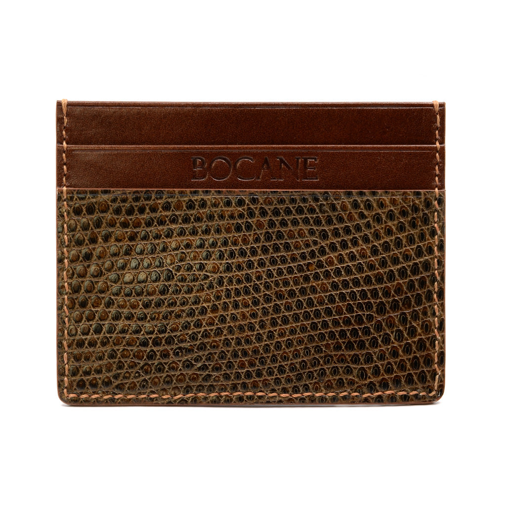 Lizard and Calf Leather Card Holder, Cognac, Hand Stitched