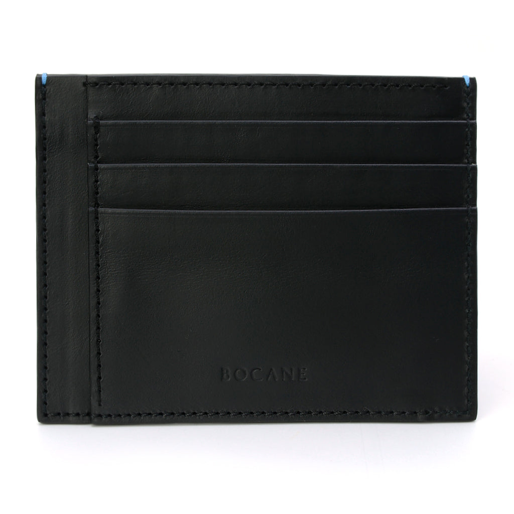 Black Calf Leather Wallet, Extra Slim, Blue Stitch Ends