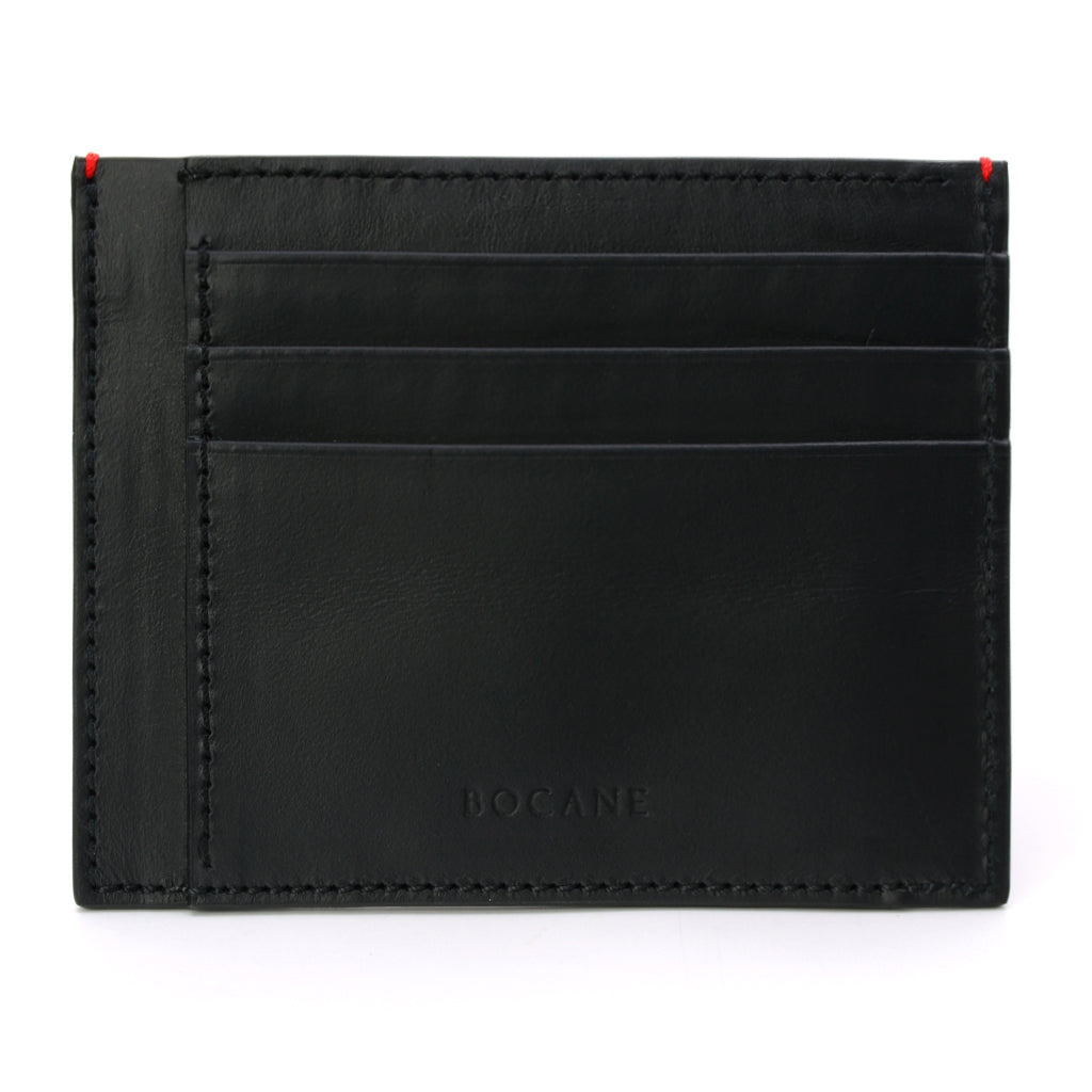 Black Calf Leather Wallet, Extra Slim, Red Stitch Ends
