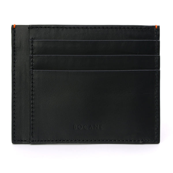 Black Calf Leather Wallet, Extra Slim, Orange Stitch Ends
