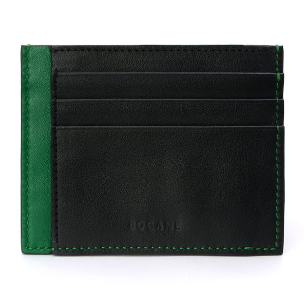 Black and Green Calf Leather Wallet, Extra Slim, Green Stitch