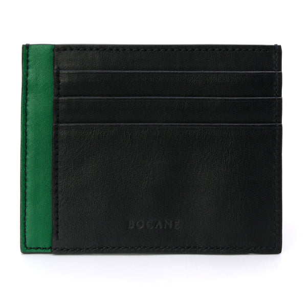 Black & Green Calf Leather Wallet, Extra Slim