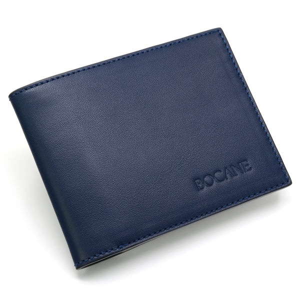 Slim Wallet, Navy Full Grain Leather