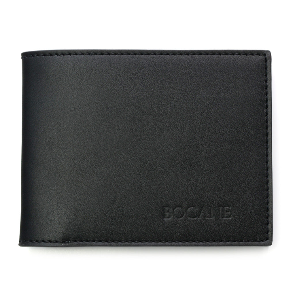 Slim Wallet, Black Full Grain Leather