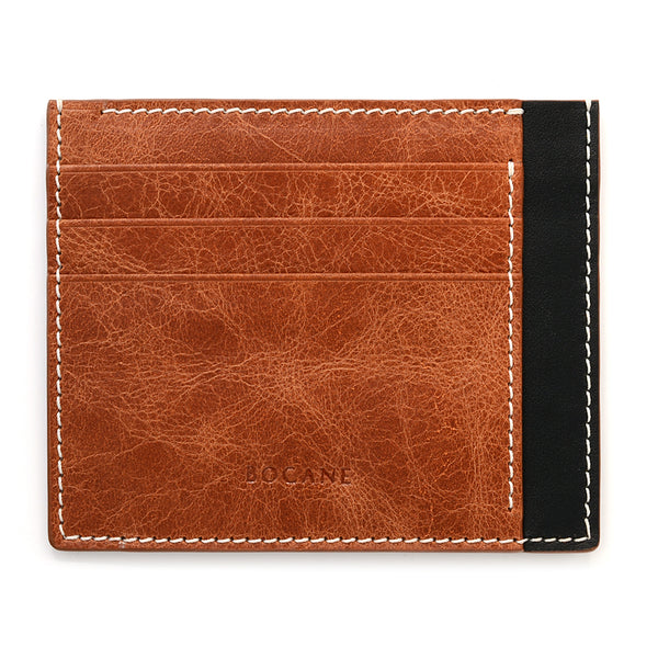 Cognac Leather Wallet, Extra Slim, Antique Finish